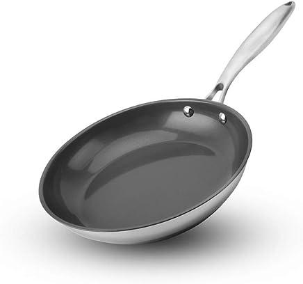 LULUDP Batería de cocina Sartenes y ollas Sartén antiadherente, mango y cuerpo de acero inoxidable