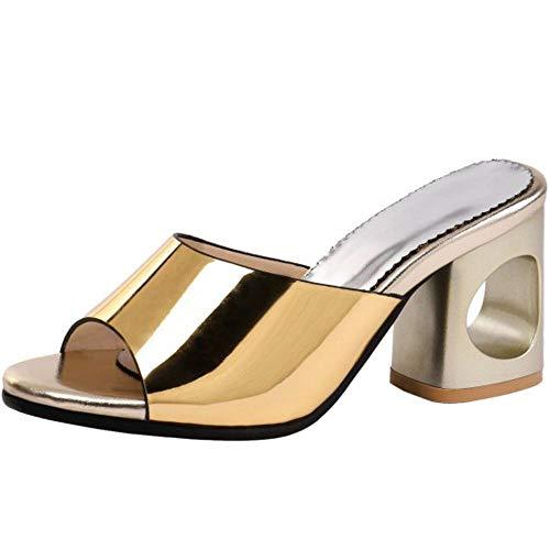 Kaizi Karzi Damen Mode Sommer Dicke Ferse Sandalen Peep Toe Bürodame Schuhe Ohne Verschluss Mules Blockabsatz Sandalen Pantoffelns Gold Große 45 Asiatisch