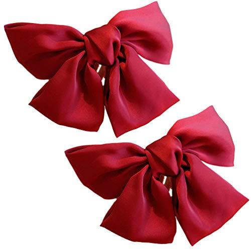 Minkissy 2PCS Arcs Clip Satin Ruban Français Barrette Ruban Bowknot Clips Pince à De Printemps pour Femmes Filles ( Rouge )