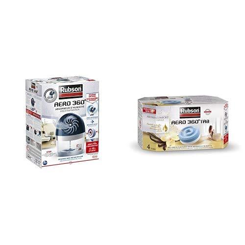Rubson AERO 360º Déshumidificateur d'air pour la maison, absorbeur d'humidité et anti odeurs pour pièces de 20 m², inclus 1 recharge neutre et 4 recharges à la vanille de 450 g