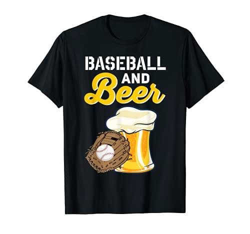 I Love Baseball & Beer Bier Bierglas Schnaps Party Saufen T-Shirt