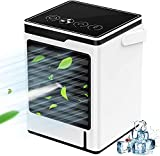 Yuntong Portable Air Conditioner, Quiet Desk Fan, Humidifier Misting Fan, Evaporative Air Conditioner Fan with 3 Speeds 7 Colors, Personal Air Cooler with Handle for Home, Office and Room (A)