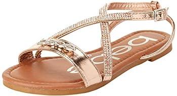 bebe Girls  Sandals – Rhinestone Studded Leatherette Criss Cross Strap Sandals  Little Kid/Big Kid  Size 11 Rose Gold