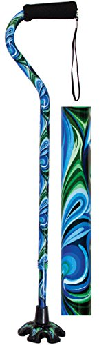 Essential Medical Supply Couture Offset Fashion Cane with Matching Standing Super Big Foot Tip, Swirl Style