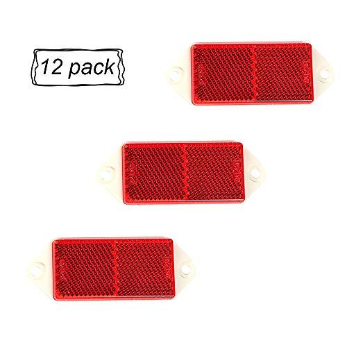 AOHEWEI 12 x Rot Rückstrahler Katzenaugen Reflektoren Rechteckige Anschrauben Reflektor Seitenstrahler Anhänger Sicherheit reflektierend für Zaunpfosten Anhänger Wohnwagen ECE-geprüft (rot)