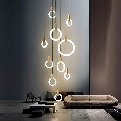 KAIBINY YY Moderna de la lámpara LED de iluminación de Techo de la Sala de Madera de acrílico Anillo Accesorios Escaleras Deco Colgar Las Luces lámparas Pendientes de Comedor