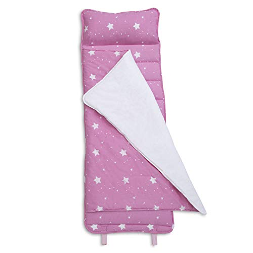 Delta Children Nap Mat with Included Pillow and Blanket for Toddlers and Kids; Features Carry Handle with Strap Closure and Name Tag; Rollup Design is Ideal for Preschool and Daycare, Blushing Stars