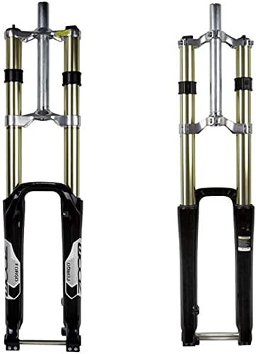 YLXD Forcella Ammortizzata da 180 mm da Viaggio Forcella per Mountain Bike MTB Bici, Forcella da Discesa in Lega di magnesio per Bicicletta ASSE da 20 mm, 1-1/8' Senza Filettatura