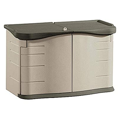 Rubbermaid Portable Outdoor Split Lid Resin Shed with Locking Lid and Impact-Resistant Floor, Olive and Sandstone