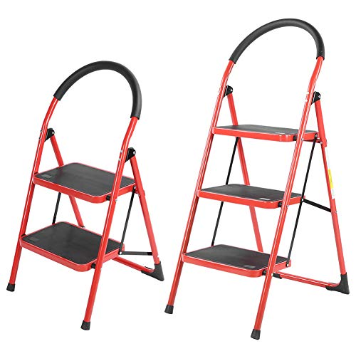 Climbing Ladders, Step One‑Sided Climbing Stepladder Folding Heavy Duty Iron Ladder Step Platform Rubber Hand Grip Anti-Slip Pedal 320lbs for Home Office Engineering(Red 2-step)