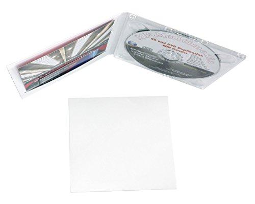 50 Digipack CD Hüllen aus Karton weiß mit Plastik Tray Farblos CD Kartonhüllen für 1 Disc mit Schlitz für Einleger (Booklet/Cover/Visitenkarte/Foto usw.)