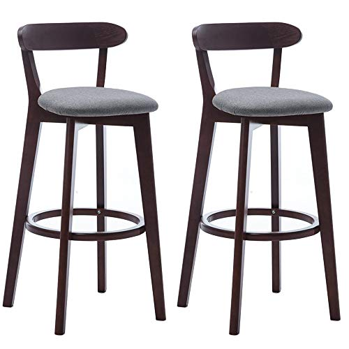 Qddan 28 Inch Bar Stools Set of 2,Indoor Outdoor Counter Kitchen Bar Seat,Modern Industrial Hight Back Chairs Pub seat (Color : Gray)