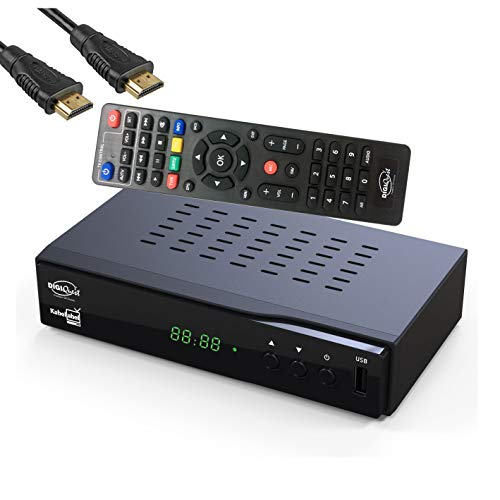 DigiQuest KabelAbel Full-HD Kabelreceiver Digital DVB-C (HDMI,Scart,LAN,USB,Display,Tasten,2in1 Fernbedienung) inkl. HDMI Kabel