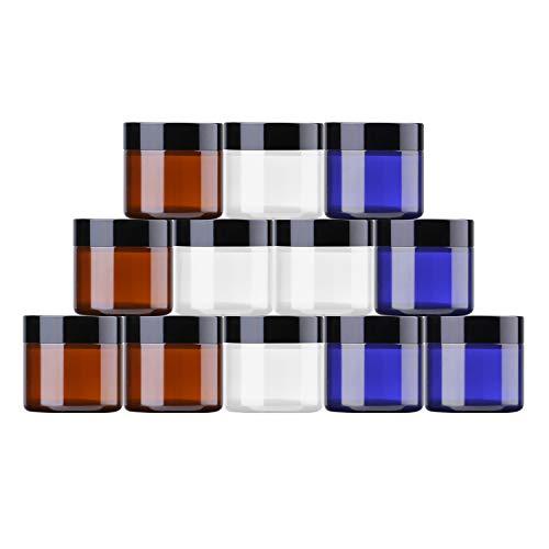 THETIS Frascos de Vidrio Redondos de 60ml (12 Paquete de) - Envases Cosméticos Vacíos con Forros Interiores, Tapas Negras y Frascos de Muestras de Vidrio con Etiquetas (Tres Colores)