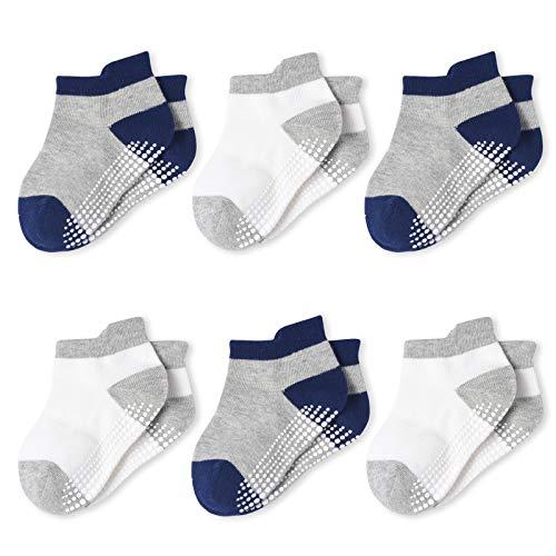 Momcozy Calcetines Bebe Calcetines Antideslizantes Niño/Niña Cortos Calcetines Tobilleros para Bebé Recién Niñas de 0 a 36 Meses 4/6/12 Pares