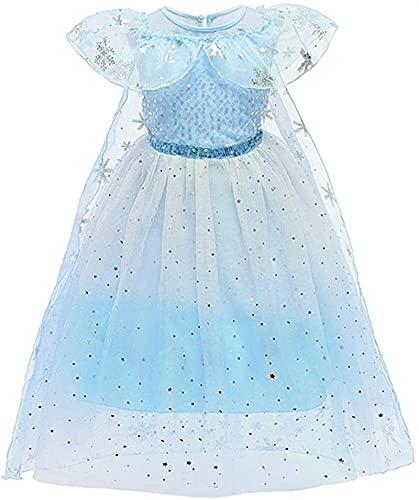 GDYJP Trajes de niñas Princesa Carnaval Fiesta de Navidad de Halloween Cosplay del Vestido de Lujo del Traje de Vestir 3-9years (Color : Blue, Tamaño : 110)