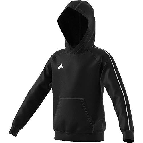 adidas Core 18 K, Felpa con Cappuccio Unisex Bambini, Nero (Black/White), 164 (13-14 Y)