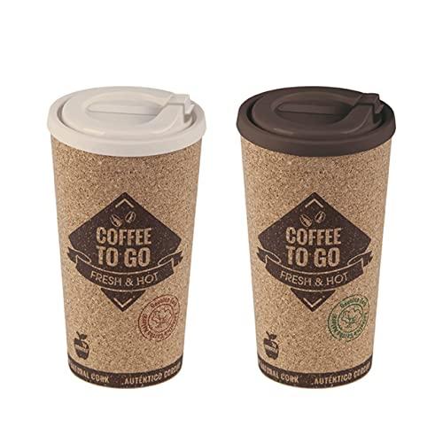 (2uds) Vaso Termo de Viaje Café reutilizable 500mL - Antiquemaduras - Fresh & hot - Café con tapa recubierto de corcho ecológico para llevar - Taza de Café para llevar Oficina