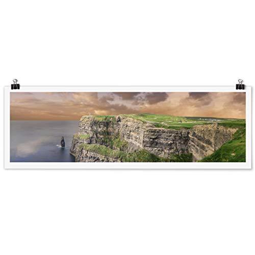 Bilderwelten Poster Wanddekoration Cliffs of Moher Panorama Querformat, Glänzend 40 x 120 cm