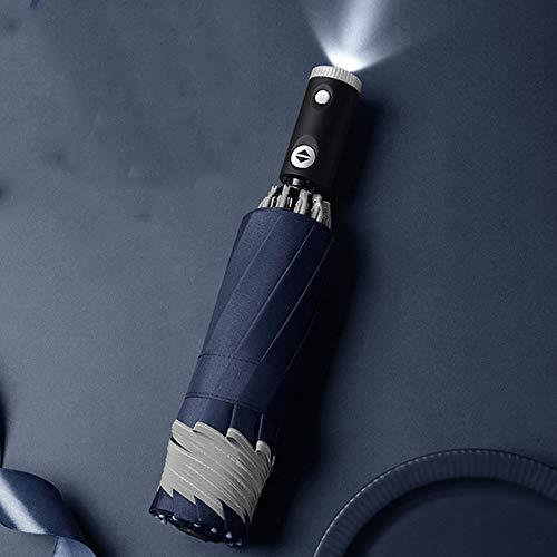 TKSTYLE Paraguas invertido Plegable automático a Prueba de Viento de 12 Varillas con iluminación LED con Franja Reflectante de Seguridad, Marco antiviento Fuerte de Noche Segura (Azul)