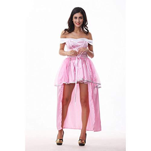 GBYAY Disfraz de Cenicienta de Halloween Adulto Mujeres Princesa Belle Disfraz Mujer Blancanieves Cosplay Cuento de Hadas Vestido de una Pieza