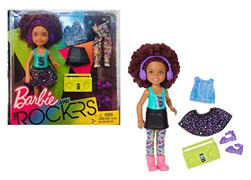 Barbie FHC01 and Rockers - Chelsea dunkelhaarig mit extra Mode, Kleidung, Schuhen und Zubehör wie Kopfhörer und Soundmachine, kompatibel mit Chelsea, Kelly, Shelly..