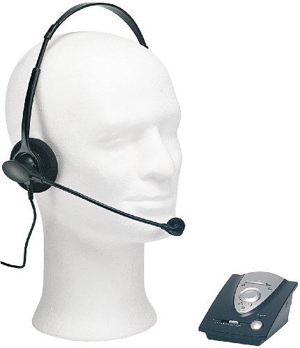 Callstel Headset Festnetztelefon: Profi-Telefon-Headset inklusive Connector-Box für Festnetz-Telefone (Telefonverstärker)