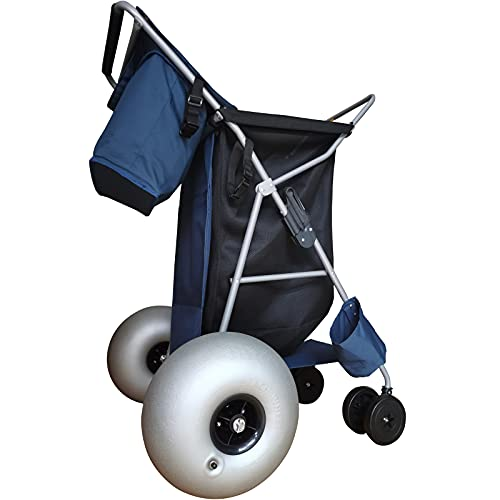 CRESTWALKER Heavy Duty Foldable Beach Cart with Big 12' Balloon Wheels for Sand, Folding Buggy with Large Polyurethane Tires