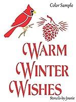 Joanie 9インチx12インチ ステンシル 暖かい 冬 願い カーディナル クリスマス 鳥 松ぼっくり キャビン プリム アート