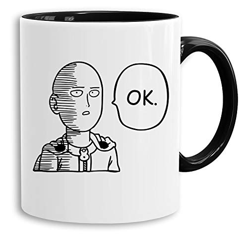Saitama OK - Tasse Kaffeetasse Son One Punch Luffy Naruto Saitama One Dragon Goku Ball Piece Man Db, Farbe:Weiß