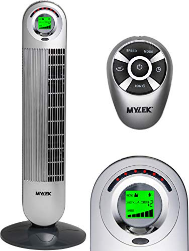 MYLEK CYCLOPS Oscillating Tower Fan with Remote Control - 6 Speed Settings, 1-12h Timer, Air Cleaning Ioniser, Sleep Mode & Breeze Mode (34', Silver)
