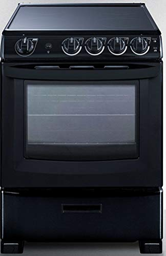 """Summit Appliance REX2431BRT 24"""" Wide Slide-In Look Smooth-Top Electric Range in Black with Lower Storage Drawer, Oven Window, Adjustable Racks, Hot Surface Indicator, Indicator Lights"""