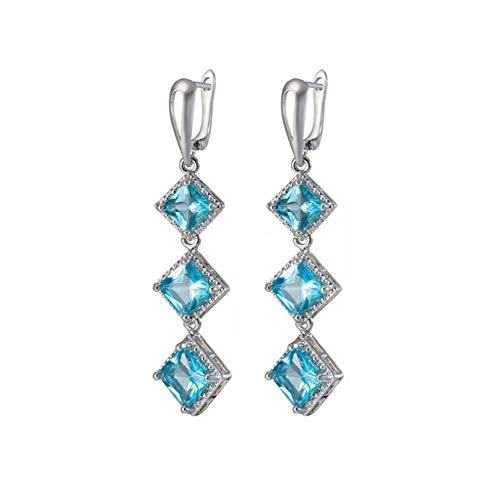 Vintage style Geometric modelling Drop earrings joker elegant temperament shiny crystal sweet Women earrings senior-Blue