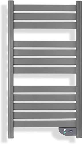 IKOHS Radiateur Sèche-Serviette Électrique, Basse consommation 500 W, Chauffage sèche-serviettes ,Séchage puissant, LCD, IP24, Convient pour salle de bain, Programmable Minuteur (Gris)