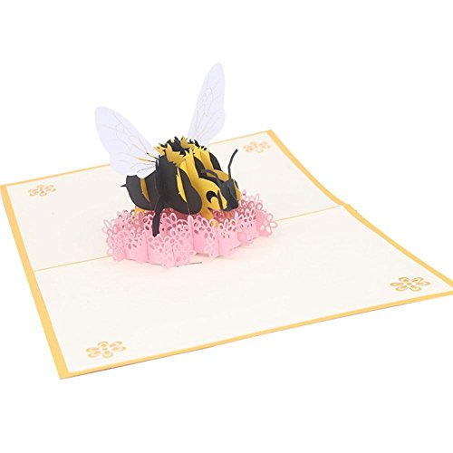 ZEROYOYO Bumblebee & Flower 3D Pop Up Greeting Card for All Occasions Paper Art Handmade Gifts