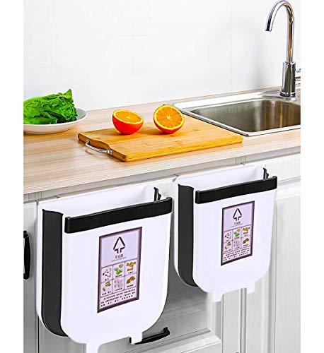 Juego De 2 Cubos De Basura De Cocina Plegables, Para Cocina, Para Coche, Oficina En Casa, L Y S (Blanco)