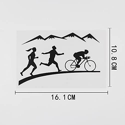 WZJH Dieciséis. 1CMX10.8CM Running Cycling Senderismo Montañas Vinyl Car Pegatina Negro/Plata (Color Name : Black)