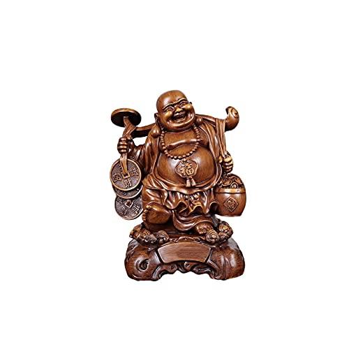 OMYLFQ Buddha Ornamente, Harz Fengshui Buddha Statuen Ornament für Glück Glück, lachende Buddha Figuren-Skulpturen Statue Wohnkultur, Hauswarming Glückwunsch Glückwunsch Geschenke