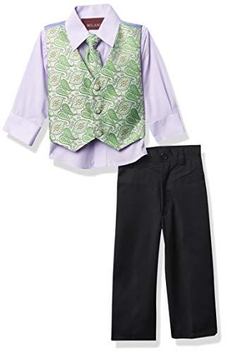 Milano Couture Boys' 4 Piece Vest Suit Set, Lilac/Navy, X-Large/24m