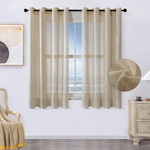 MRTREES Voile Gardinen kurz 2er-Set Leinenoptik Vorhang mit Ösen im Modernen Stores Gardinen Schals Braun 145×140 (H×B) für Wohnzimmer Schlafzimmer Kinderzimmer