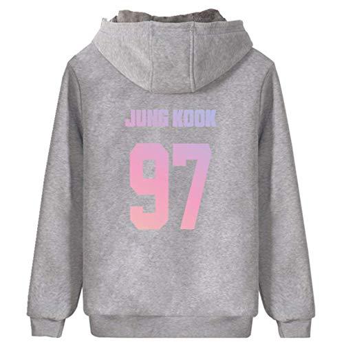 SERAPHY Unisex Hoodies Warme Sweatshirts Reißverschluss mit dickem Fleece Pullover Suga Jimin Jin Jung Jook J-Hope Rap-Monster Vgrau-97 3XL