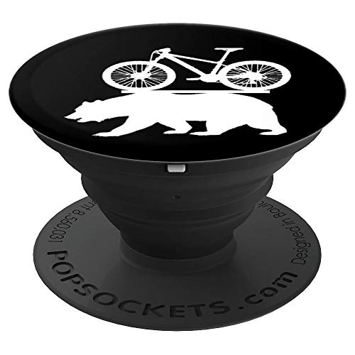 Fun Mountain Bike Cycling Cal Bear Design for Men Women Kids PopSockets Grip and Stand for Phones and Tablets