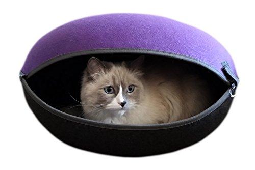 CanadianCat Company ® | Katzennest, Katzenbett in lila-anthrazit - Canadian Cat Company