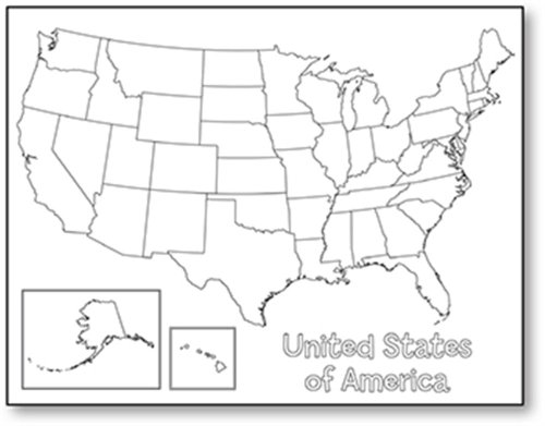 "Hygloss Products Creative Learning Poster - U.S.A. Map - Art Activities for Classroom, Kids' Camps, Events, Parties & More - Black Design on White Paper - 17"" x 22"" - 24 Posters per Pack"