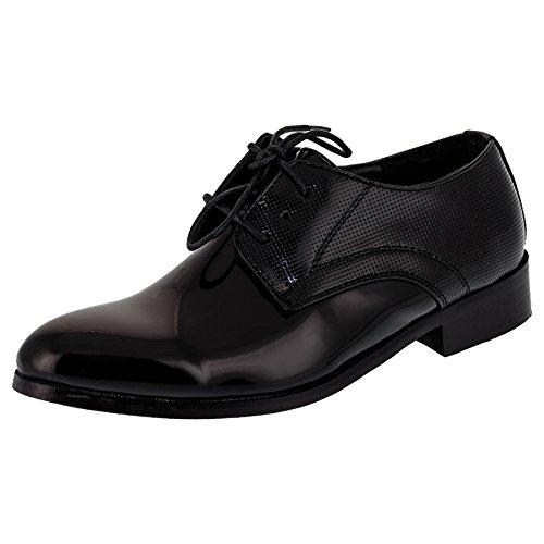 Festliche Kinder Anzug Schuhe mit Einer Innensohle aus echtem Leder M349sw Schwarz 19