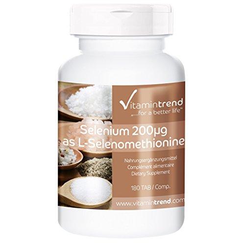 Selen 200µg – 180 Tabletten für 6 Monate – Hefefrei - Hochdosiert, ohne Magnesiumstearat, vegan und hergestellt in Deutschland