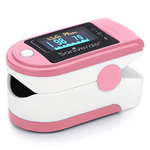 SaniVerde® PulsOximeter mit 360° LED Anzeige in 5 Farben - Finger Oximeter, Pulsoxymeter, Messgerät für Sauerstoffsättigung und Puls mit Tasche (Tea Rose)