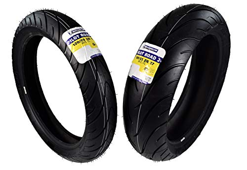Michelin Pilot Road 2 Sport Touring Motorcycle Front and Rear Tires Radial Sport Bike Road II 120/70-17 180/55-17 (120/70ZR17 F 180/55ZR17 R)