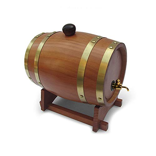 1.5L Barril de Vino Dispensador de Barril de Vino de Madera de Roble con Grifo Metálico Y Base De Barrica De Vino por Cerveza Whisky Ron Puerto