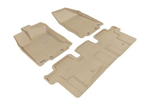 3D MAXpider Custom Fit Complete Floor Mat Set for Select Infiniti JX/QX60 Models - Kagu Rubber (Tan)